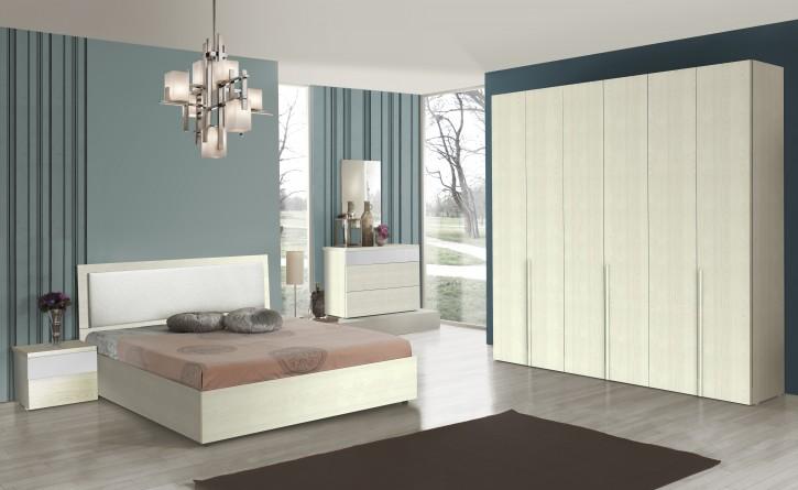 Schlafzimmer Set Serfura in Weiss 160x200 cm / mit Lattenrost 26 Leisten