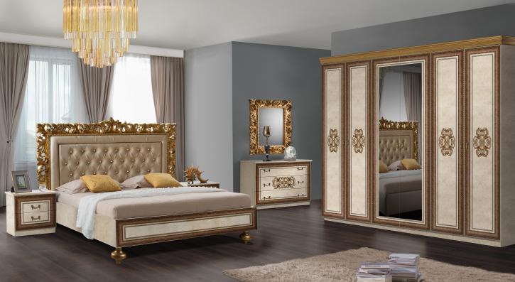 Schlafzimmer Siena in Beige Gold 6 Teilig