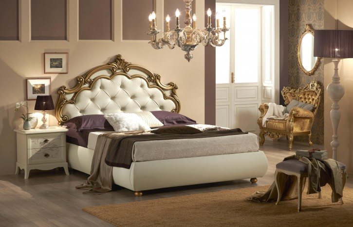Bett silvia mit stauraum in beige gold luxus design for Bett mit stauraum 160x200