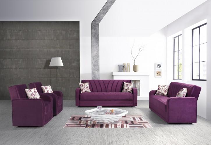 Sofa Couch Set Sultan 3+2+1 mit Schlaffunktion und Stauraum in Lila