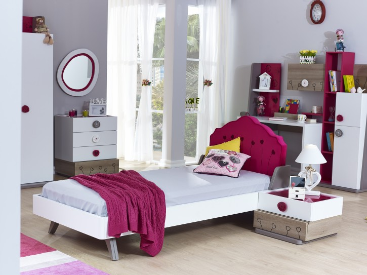 Kinderbett Sweety weiss pink 100x200 cm