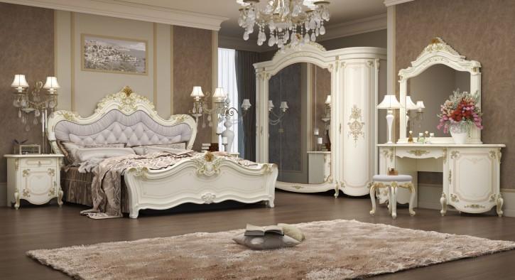 Schlafzimmer Adriana in beige 7-Teilig Barock