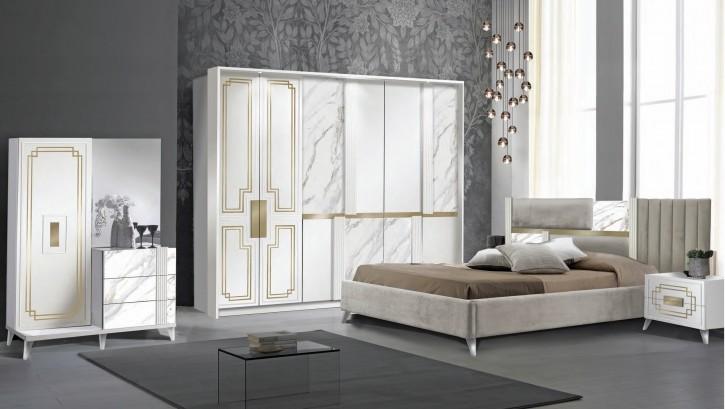 Schlafzimmer Set  Beata in Weiss Gold