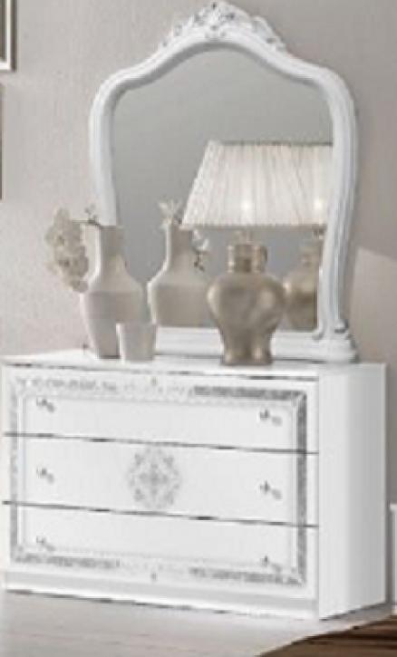 Kommode mit Spiegel in Weiss Lucy für Schlafzimmer Klassik King