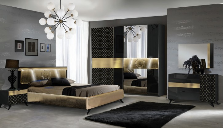Schlafzimmer Set Glamour in Schwarz Gold 160x200 cm / mit Lattenrost 26 Leisten