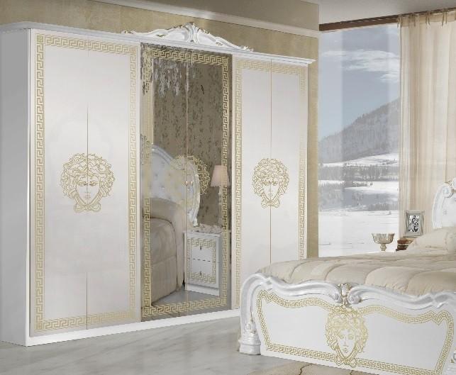 Kleiderschrank Vilma Medusa 6-türig in Weiß Gold Barock Design