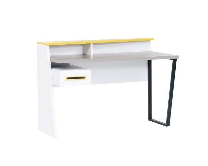 Schreibtisch Vector in weiß Grau Gelb