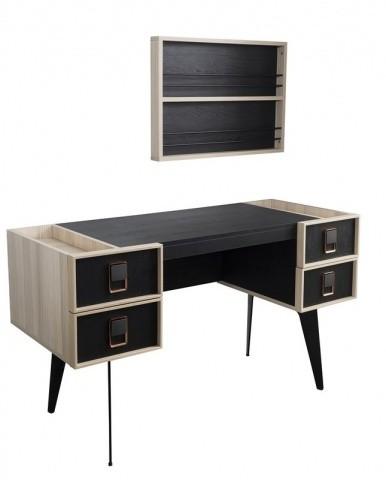 Schreibtisch Lotus mit Wandelement & USB in Schwarz