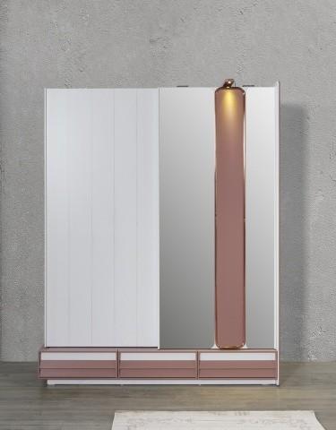 Schiebetüren Kleiderschrank Rosee mit LEDs und Spiegel