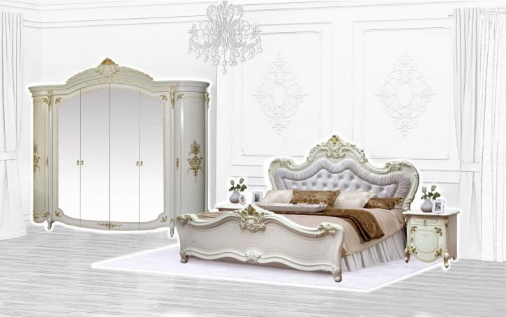 Schlafzimmer Adriana Barock in beige 4-Teilig