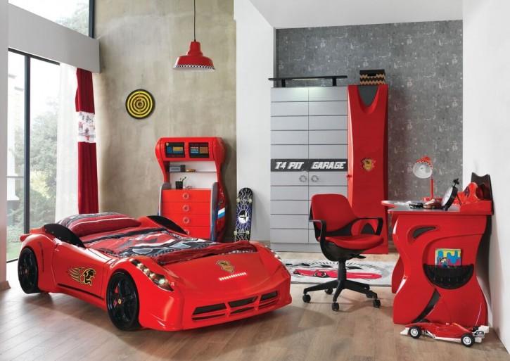 Autobett Kinderzimmer Garage in Rot für Autofans