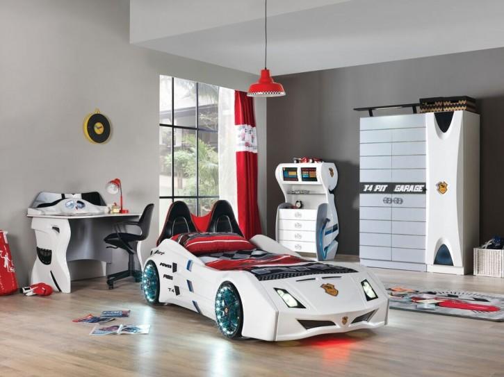 Autobett Kinderzimmer Garage in Weiß Schwarz ohne Matratze