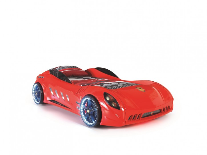 Autobett Racer Shark 90x190 cm in der Farbe Rot