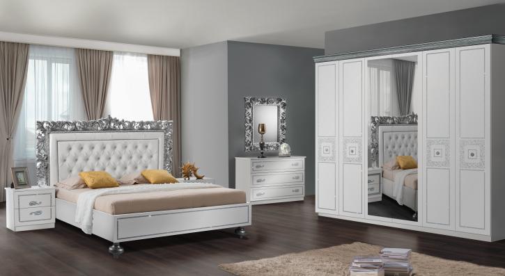Schlafzimmer Siena in Weiss/Silber 6 Teilig