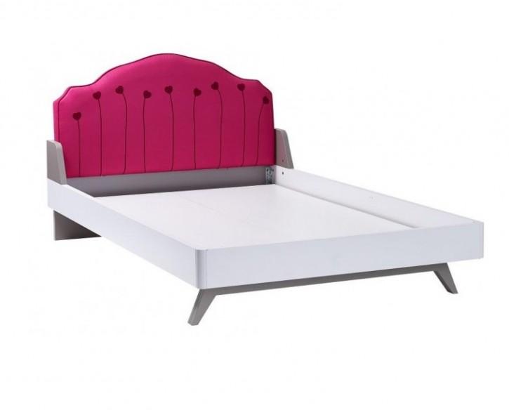Kinderbett in weiß/pink Sweety weich gepolstert 120x200 cm