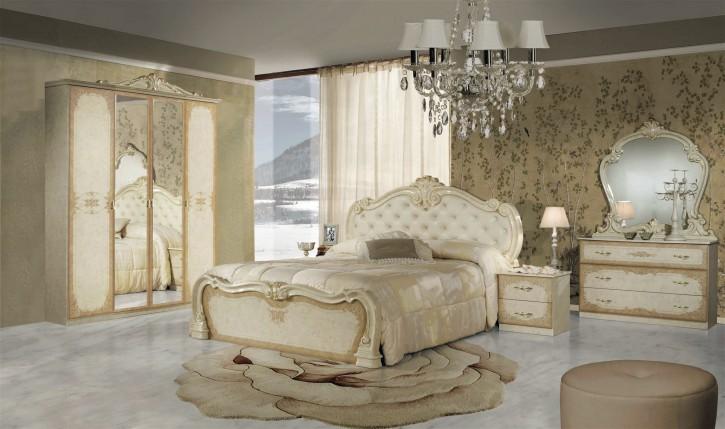 Schlafzimmer Set Tolouse in Beige Gold 7-teilig