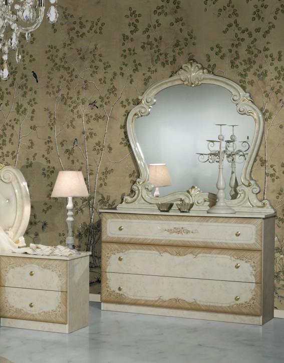 Kommode mit Spiegel Tolouse in Beige gold