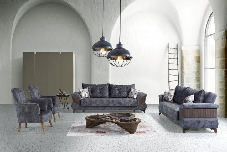 Sofa Couch Set Truva 3+2+1 in Blau mit Schlaffunktion