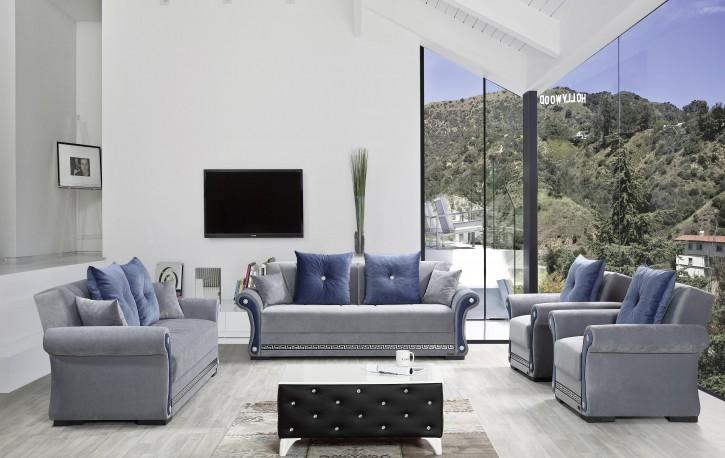 Sofa Couch Set Tugra 3+2+1 in Blau mit Schlaffunktion
