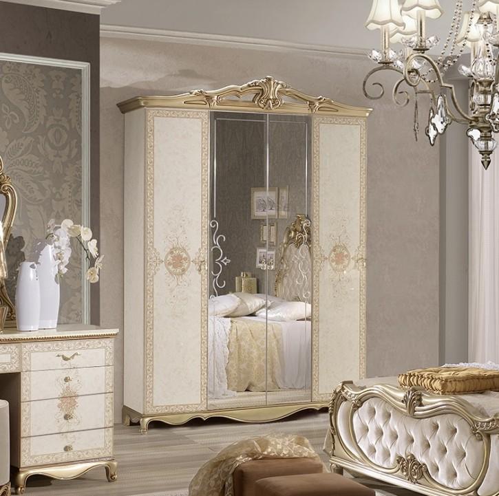 Kleiderschrank Tatjana 4 türig in Beige Gold Luxus Design