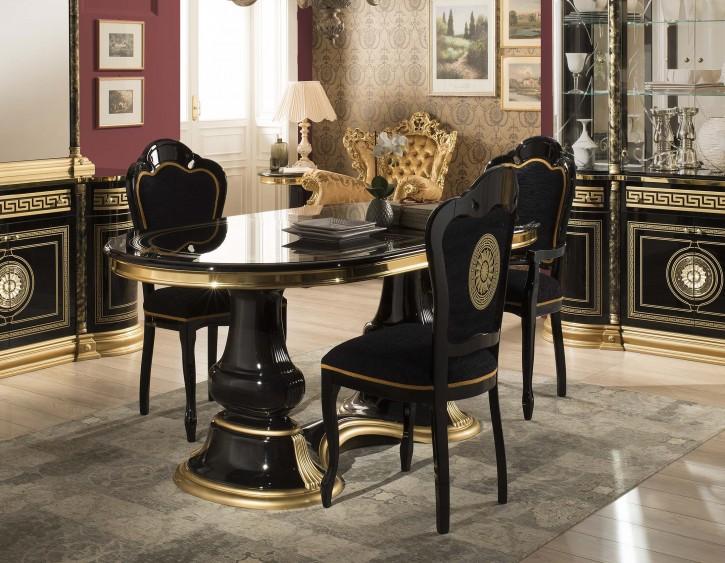 Esstisch Venus mit 4 Stühlen In Schwarz Gold Barock