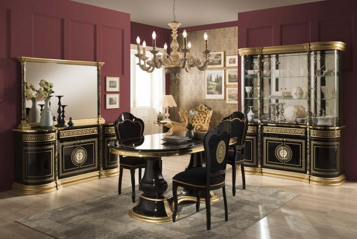 Esszimmer Venus mit 4 Stüheln in Schwarz Gold Klassich Elegant