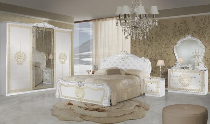 Schlafzimmer Vilma Medusa 6 Teilig in Weiss gold barocco mit Polsterung