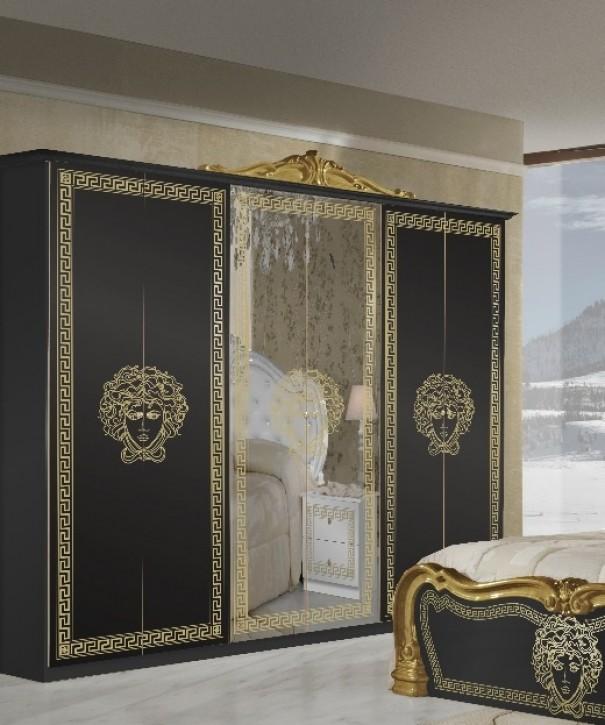 Kleiderschrank Vilma Medusa 6-türig in Schwarz Gold Barock Design