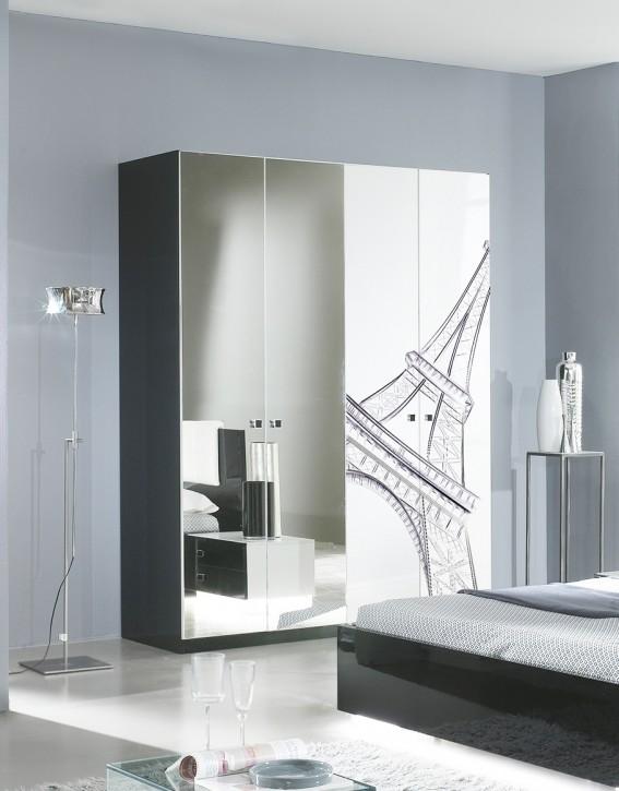 Kleiderschrank 4trg. VIVIENNE in Schwarz Weiß Modern Design