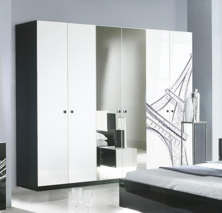 Kleiderschrank 6trg. VIVIENNE in Schwarz Weiß Modern Design