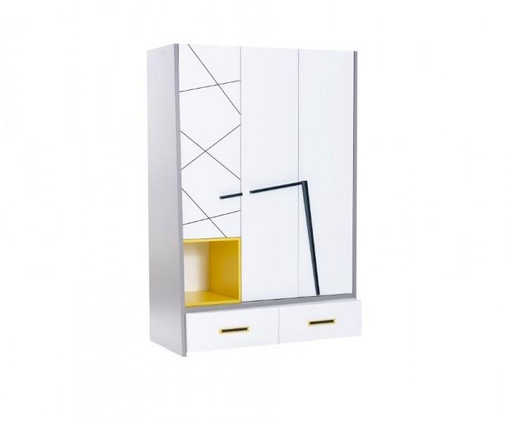 Kleiderschrank 3-trg Vector weiß grau gelb