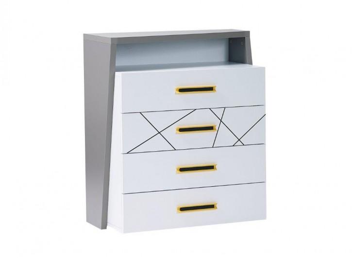 Kommode Vector weiß grau gelb