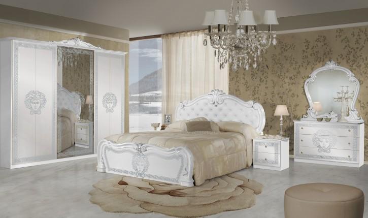 Schlafzimmer Vilma Medusa 6 Teilig in Weiß Barock mit Polsterung