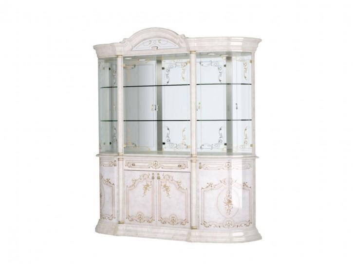 Vitrine Rozza in beige klassisch Barock Glasvitrine