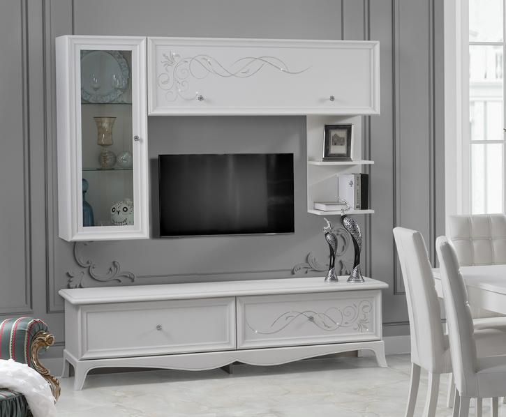Wohnwand mit Fernsehtisch Giselle in weiss Klassisch