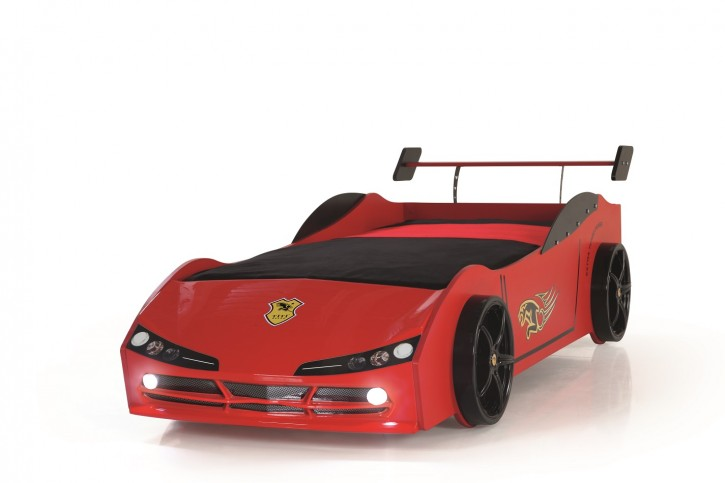 Autobett Racer  mit LED Scheinwerfer in Rot Schwarz