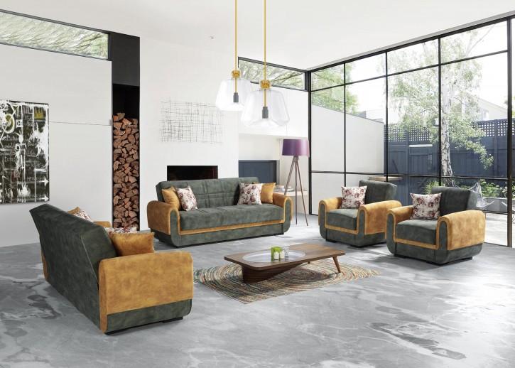Sofa Couch Set Yaprak 3+2+1 mit Schlaffunktion und Stauraum