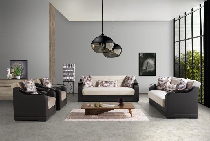 Sofa Couch Set Yildiz 3+2+1 in Beige Schwarz mit Schlaffunktion