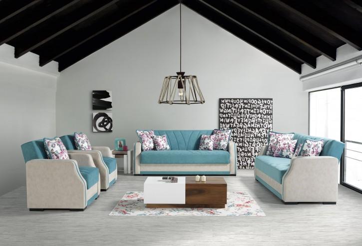 Sofa Couch Set Cizgi 3+2+1 in Babyblau mit Schlaffunktion