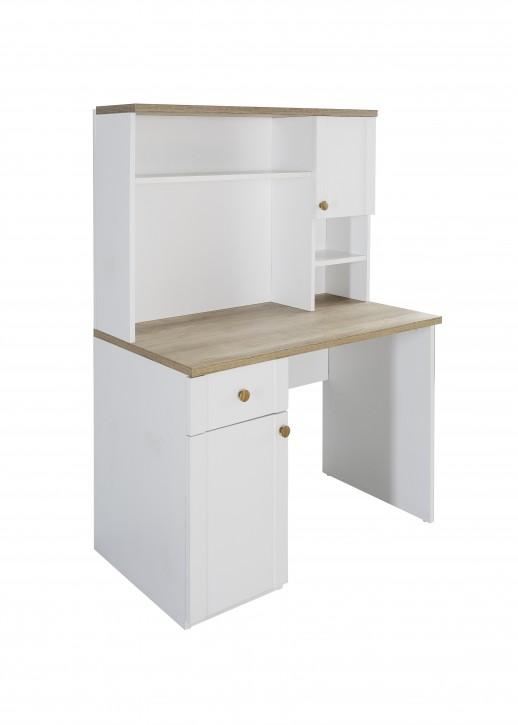 Schreibtisch Alaska in Weiss / Holzoptik