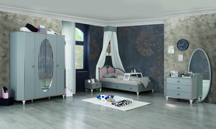 Kinderzimmer Glori Jugendzimmer modern grau  4 tlg ohne Matratze