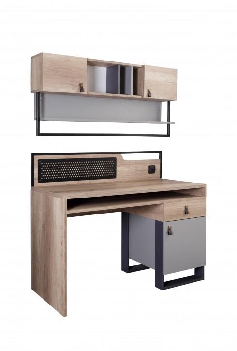Schreibtisch mit Aufsatz in Holzoptik Grau