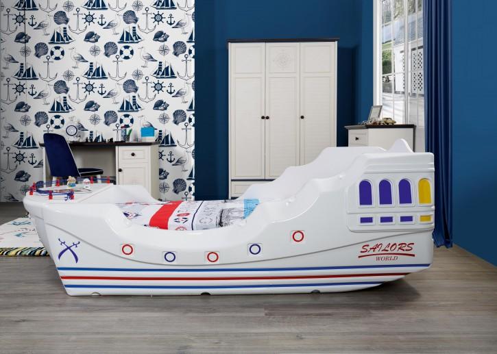Kinderbett Boot Marine Captain für kleine Seemänner