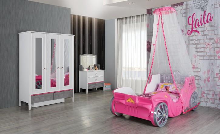 Kinderzimmer Set Kutschenbett in Pink Laila 3-teilig