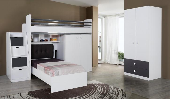 Stauraum Jugendzimmer mit Etagenbett Puzzle 6-teilig ohne Lattenrost / 7 Zonen Comfortschaum-Matratze ca.16cm Hoch
