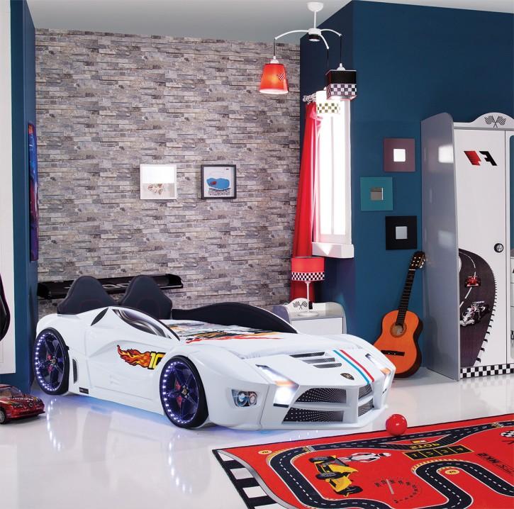 Autobett Luxury Vollversion in weiss mit LED und Polsterung