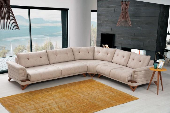 Ecksofa Alyans in Creme Beige Elegant Design