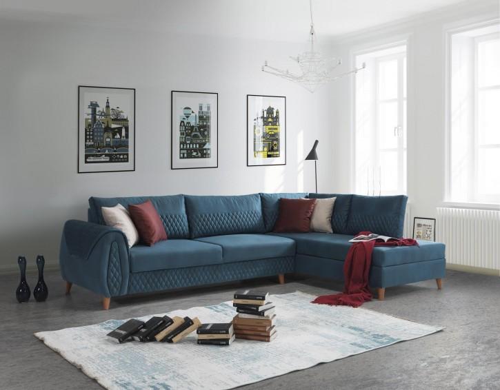 Ecksofa Aspendos in Blau Klassisch Design