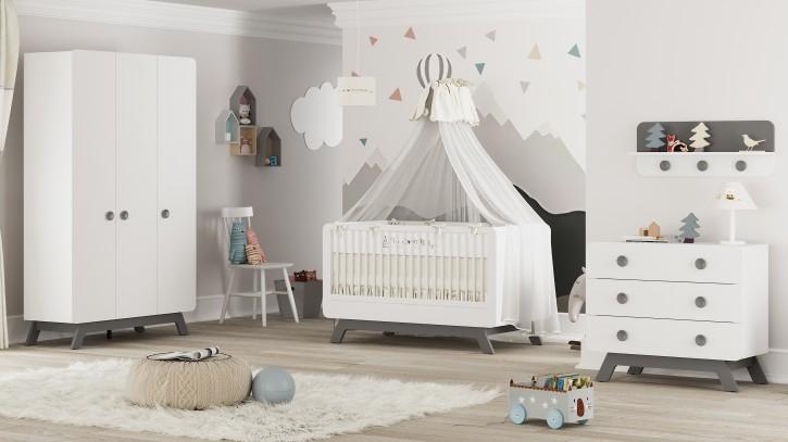 Babyzimmer Set Baby Cute 4-teilig weiss/grau