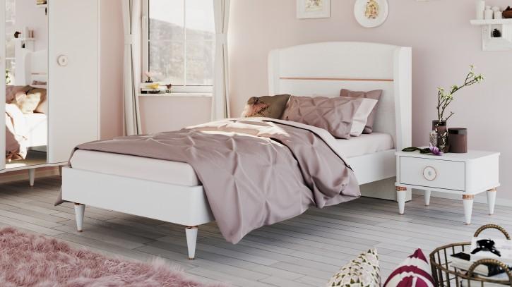 Kinderbett Bett 100x200 cm Bella weiss gold